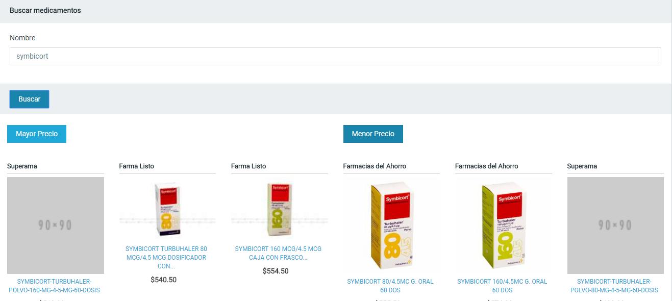 Comparador de precio de medicamentos